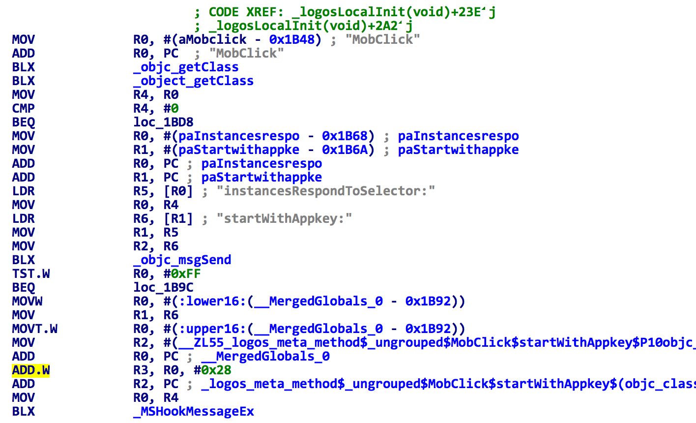 Figure 1. The spad.dylib hooks methods in MobClick SDK