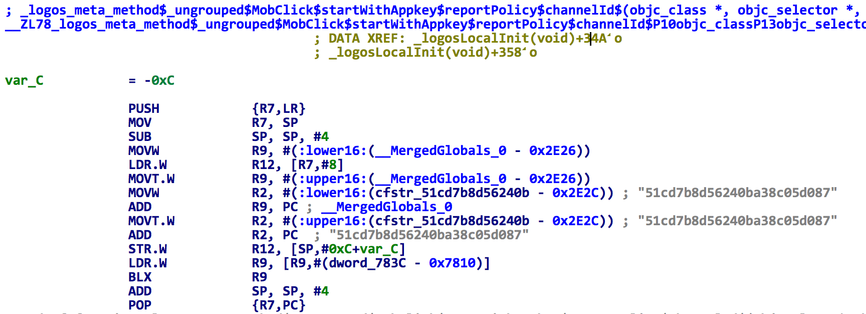 Figure 2. The spad.dylib changes app key in MobClick SDK